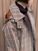 Checked hooded trench coat メゾンスコッチ